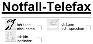 Notfall-Telefax-Vordruck für Gehörlose und Sprachbehinderte Menschen als PDF-Datei zum Herunterladen