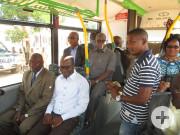 vorne links Dr. Paul Dakuyo und Adama Coulibaly, Deutschlehrer und Vorsitzender des Partnerschaftsvereins AREBO (Amis de Reutlingen à Bouaké). Beide Herren waren im Oktober im Anschluss an eine Afrikakonferenz in Erfurt zu Gast in Reutlingen gewesen.