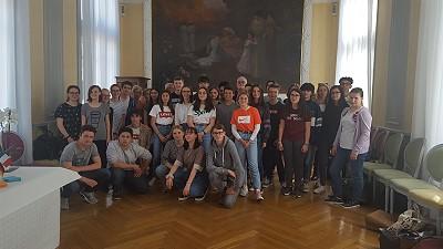 Deutsch-Französische Schülergruppe im Roanner Rathaus