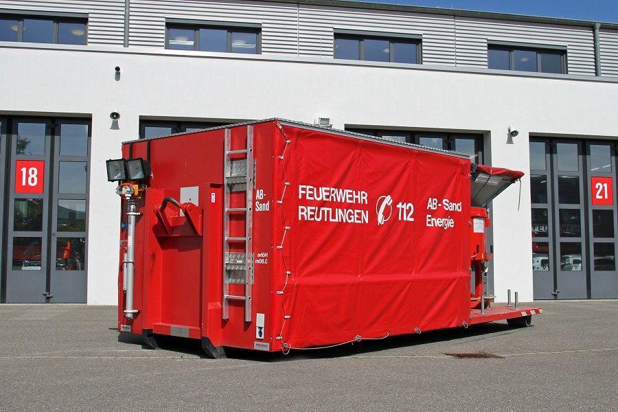 Abrollbehälter Sandsack Energie