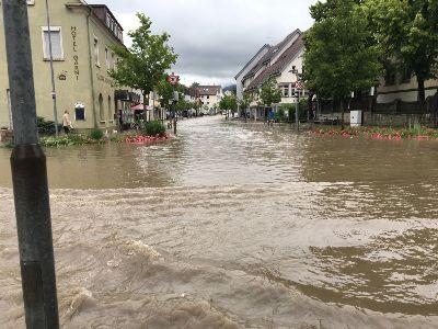 Hochwasser in der Steinachstraße