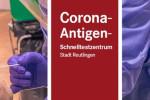 Bild des Hinweischildes der Corona-Antigen-Schnellteststelle in der Stadthalle