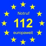 Das Bild zeigt die Europaweite Notrufnummer 112 mit den Sternen der Europäischen Union