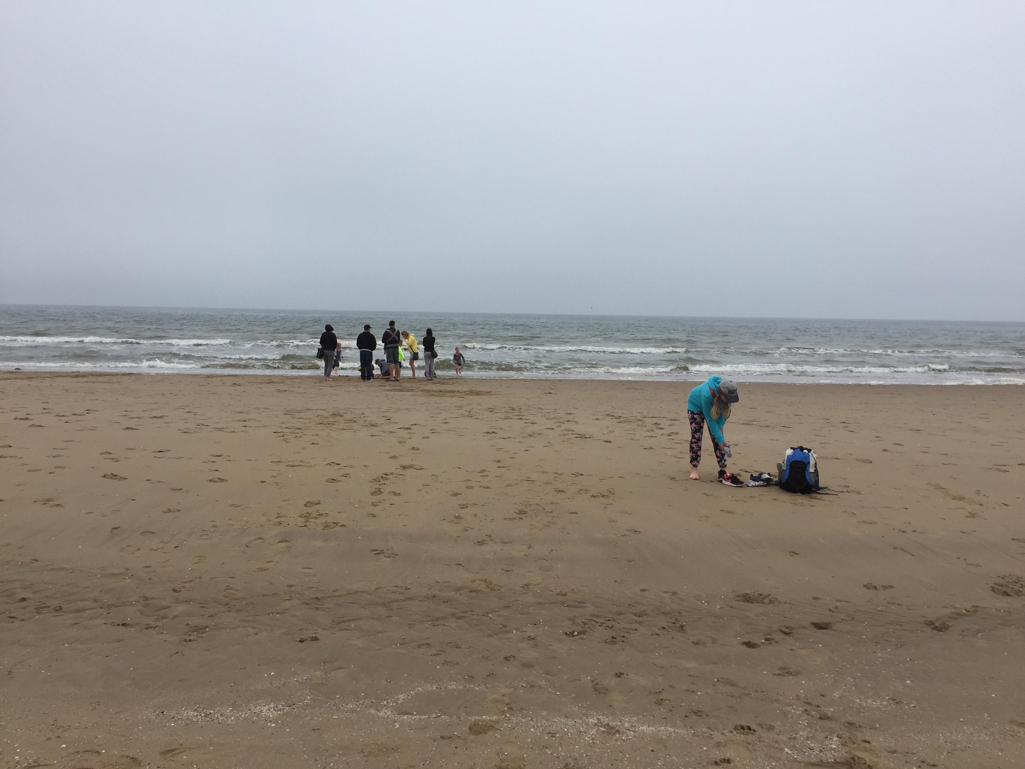Die Gruppe am Strand an der Nordsee