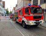 Brand in der Metzgerstrasse , auf diesem Bild sieht man ein Hilfeleistungslöschhgruppenfahrzeug im Einsatz von der Reutlinger Berufsfeuerwehr