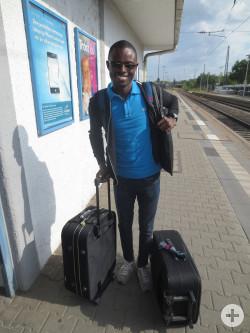 Kouakou Hervé N'Dri, Student aus Bouaké, bei seiner Ankunft in Reutlingen