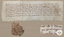 """Die Pergamenturkunde von 1316 beinhaltet den ersten schriftlichen Nachweis des Ortsnamens von Reicheneck (""""ze Richenegge"""") StadtA Rt., A 2 Nr.1538 (Montage)"""