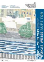 Plakat: Lukas Weiß Aufs Tor. Holzschnitt-Förderpreis des Freundeskreises Kunstmuseum