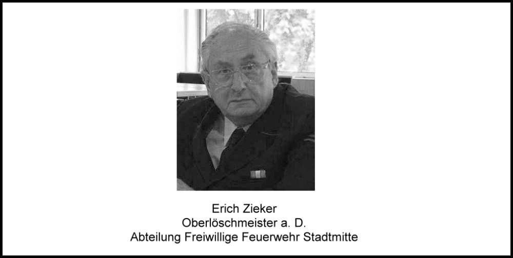 Die Feuerwehr Reutlingen trauert um ihren langjährigen Feuerwehrkameraden und Ehrenmitglied Erich Zieker Oberlöschmeister a.D. Abteilung Freiwillige Feuerwehr Stadtmitte