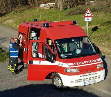 Zwei Feuerwehrmänner beim Ausfüllen eines Messprotokolls am Erkundungsfahrzeug